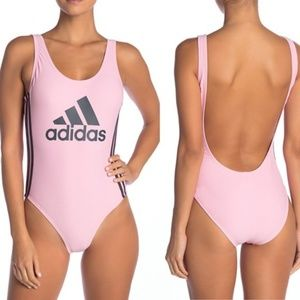 Adidas Logo One-Piece Swimsuit in Pink SZ XL